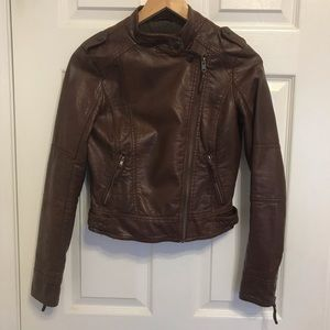 Garage faux leather coat